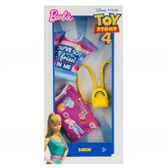 Одежда Barbie Коллаборации Желтый рюкзак, фиолетовая юбка с героями