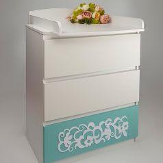 Комод детский Островок Уюта Eva декор Арабески, цвет: мятный/белый