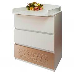 Комод детский Островок Уюта Eva декор Арабески, цвет: капучино/белый