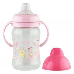 Поильник-непроливайка Lubby С ручками, с 6 месяцев, цвет: розовый/сиреневый