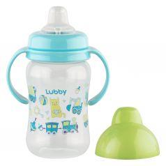 Поильник-непроливайка Lubby С ручками, с 6 месяцев, цвет: зеленый/голубой