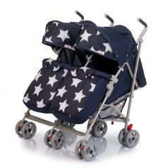 Прогулочная коляска для двойни BabyHit Twicey, цвет: темно-синий/звезды