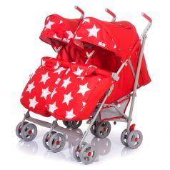 Прогулочная коляска для двойни BabyHit Twicey, цвет: красный/звезды