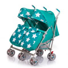 Прогулочная коляска для двойни BabyHit Twicey, цвет: ярко-бирюзовый/звезды