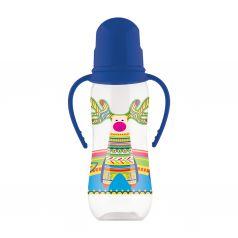 Бутылочка Lubby Русские мотивы с соской полипропилен с рождения, 240 мл, цвет: синий