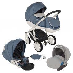 Коляска 3 в 1 Bexa Poland Ideal New, цвет: голубой/синий/белый