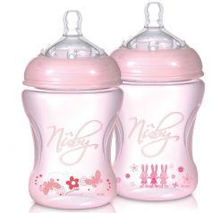 Бутылочка Nuby для кормления полипропилен, 240 мл, цвет: розовый