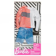 Одежда для кукол Barbie Джинсовые шорты полосатая кофта