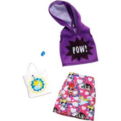 Набор одежды для кукол Barbie Коллаборации Сиреневый топ/розовая юбка/белая сумка