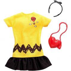 Набор одежды для кукол Barbie Коллаборации Желто-черное платье/сумка-сердце