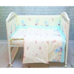 Комплект постельного белья Baby Nice Зайчики, цвет: голубой 6 предметов одеяло 105 х 140 см