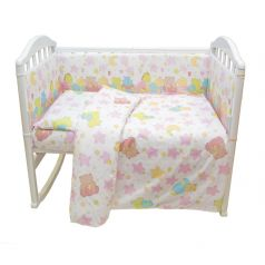 Комплект постельного белья Baby Nice Звездопад, цвет: розовый 6 предметов одеяло 105 х 140 см