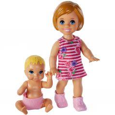 Кукла Barbie Братья и сестры с малышом в розовом подгузнике