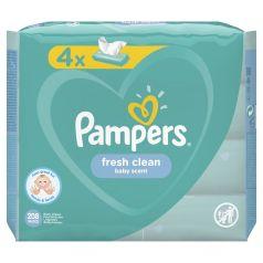 Влажные салфетки Pampers Fresh Clean Quatro Детские, 4х52 шт