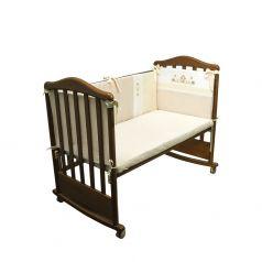Бортик в кроватку Сонный гномик Кантри, цвет: бежевый 4 части для кроватки 120 х 60 см