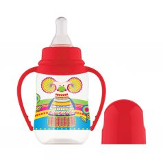 Бутылочка Lubby Русские мотивы С ручками с рождения, цвет: красный