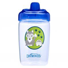 Чашка-поильник Dr.Brown's с твердым носиком Волчонок, с 12 месяцев, цвет: синий