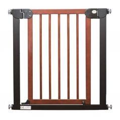 Ворота безопасности Baby Safe для дверного проема, цветчерный металл/темное дерево