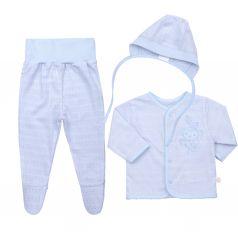 Комплект на выписку Bembi, цвет: голубой кофта/ползунки/чепчик