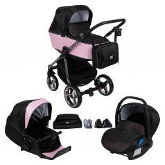 Коляска 3 в 1 Adamex Reggio Special Edition, цвет: кожа пуднровая/черный принт/розовые точки