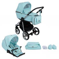 Коляска 2 в 1 Adamex Reggio Special Edition, цвет: кожа светло-голубая/светло-голубой