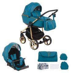 Коляска 2 в 1 Adamex Sierra Special Edition, цвет: кожа синяя/синий/золото