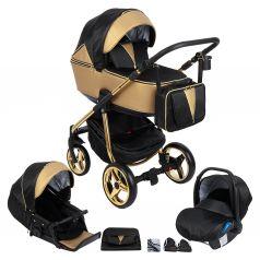 Коляска 3 в 1 Adamex Sierra Special Edition, цвет: кожа золотая/черный/золото