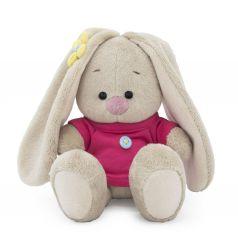 Мягкая игрушка Budi Basa Малыши Зайка Ми в малиновой футболке с пуговкой 15 см