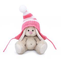 Мягкая игрушка Budi Basa Малыши Зайка Ми в полосатой розовой шапке 15 см