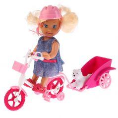 "Карапуз, Карапуз, Кукла ""Машенька"" с аксессуарами (велосипед с прицепом, питомец), 12см."