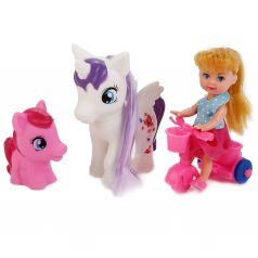 "Карапуз, Карапуз, Кукла ""Машенька"" 12см, на велосипеде, с двумя пони"