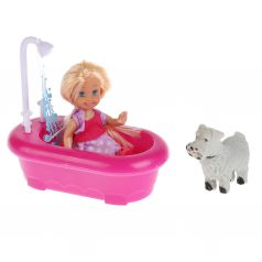 "Карапуз, Карапуз, Кукла ""Машенька"" с аксессуарами (ванна с душем, питомец), 12см."