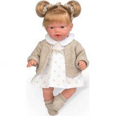 Кукла Arias Elegance с хвостиками, в платьице в крупный горошек, с соской 28 см