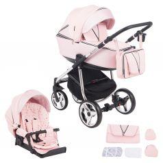 Коляска 2 в 1 Adamex Sierra Special Edition, цвет: кожа розовая/розовый