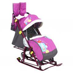 Санки-коляска Nika Kids Ника-детям 7-6 Коллаж-снеговик, цвет: орхидея