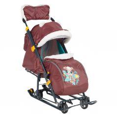Санки-коляска Nika Kids Ника-детям 7-6 Коллаж-бельчонок, цвет: шоколад