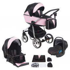 Коляска 3 в 1 Adamex Sierra Special Edition, цвет: кожа розовая/черный