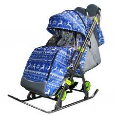 Санки-коляска Galaxy Зимняя ночь, цвет: олени на синем