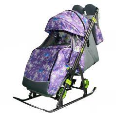Санки-коляска Galaxy Елки, цвет: фиолетовый