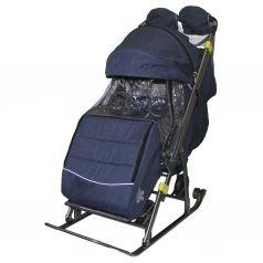 Санки-коляска Galaxy, цвет: строчка/джинс темно-синий