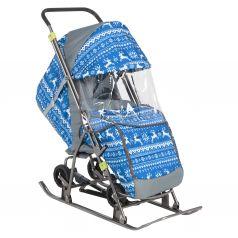 Санки-коляска Galaxy Снежинка Универсал 1 Зимняя ночь, цвет: олени на синем