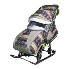 Санки-коляска Galaxy Скандинавия, цвет: коричневый