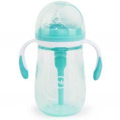 Бутылочка Happy Baby антиколиковая с ручками и силиконовой соской полипропилен, 300 мл, цвет: мятный