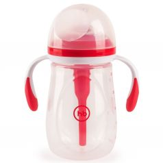 Бутылочка Happy Baby антиколиковая с ручками и силиконовой соской полипропилен, 300 мл, цвет: красный