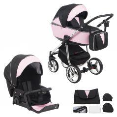 Коляска 2 в 1 Adamex Sierra Special Edition, цвет: кожа розовая/черный жаккард/серебро
