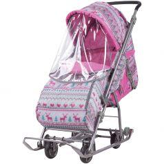 Коляска комбинированная Nika Kids Умка 3-1, цвет: вязанный/розовый