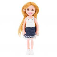 Кукла Игруша белый топ,джинсовая юбка 14 см