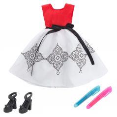 Одежда для кукол Zhorya Платье красно-белое 29 см