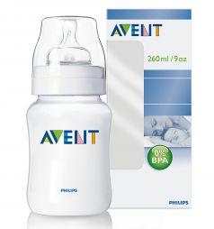 Бутылочка Avent Classic полипропилен с 1 мес, 260 мл, цвет: прозрачный