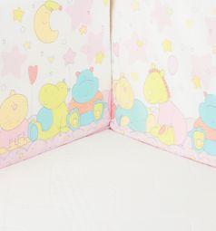 Бортик в кроватку ОТК Звездопад, цвет: белый/розовый